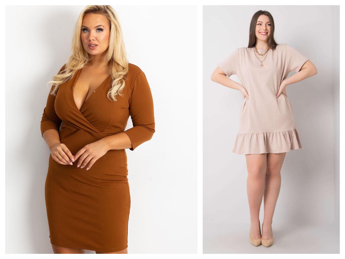 Eleganckie stylizacje plus size z sukienką w stonowanych kolorach